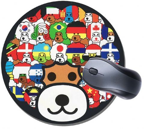 Afro Ken Flags Of The World Round Mouse Mat. High Quality Cute Dog Mouse Pad